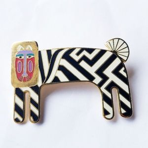 Laurel Burch zebra pin brooch black white goldtone